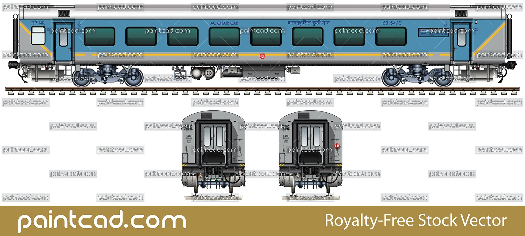Indian passenger LHB car type in livery of Gatimaan Express - vector illustration