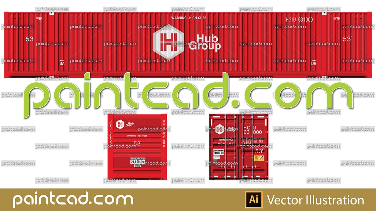 Intermodal container 50 foot long in red livery of Hub Group - vector illustration