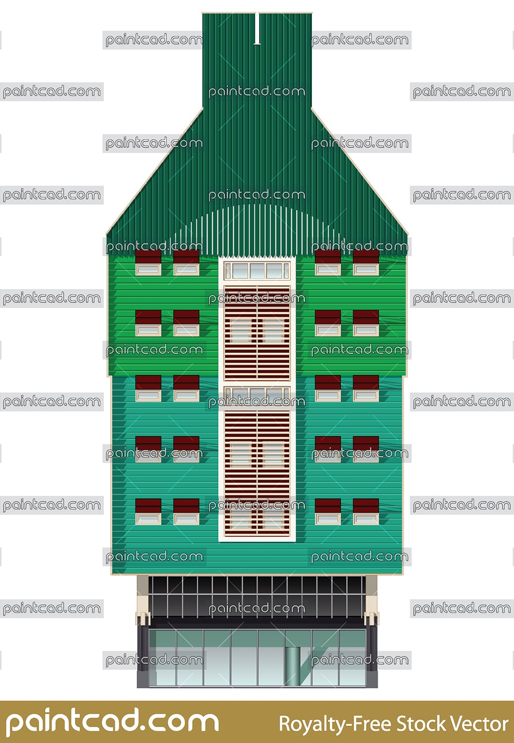 Contemporary Dutch building from Zaandam city, North Holland - vector illustration