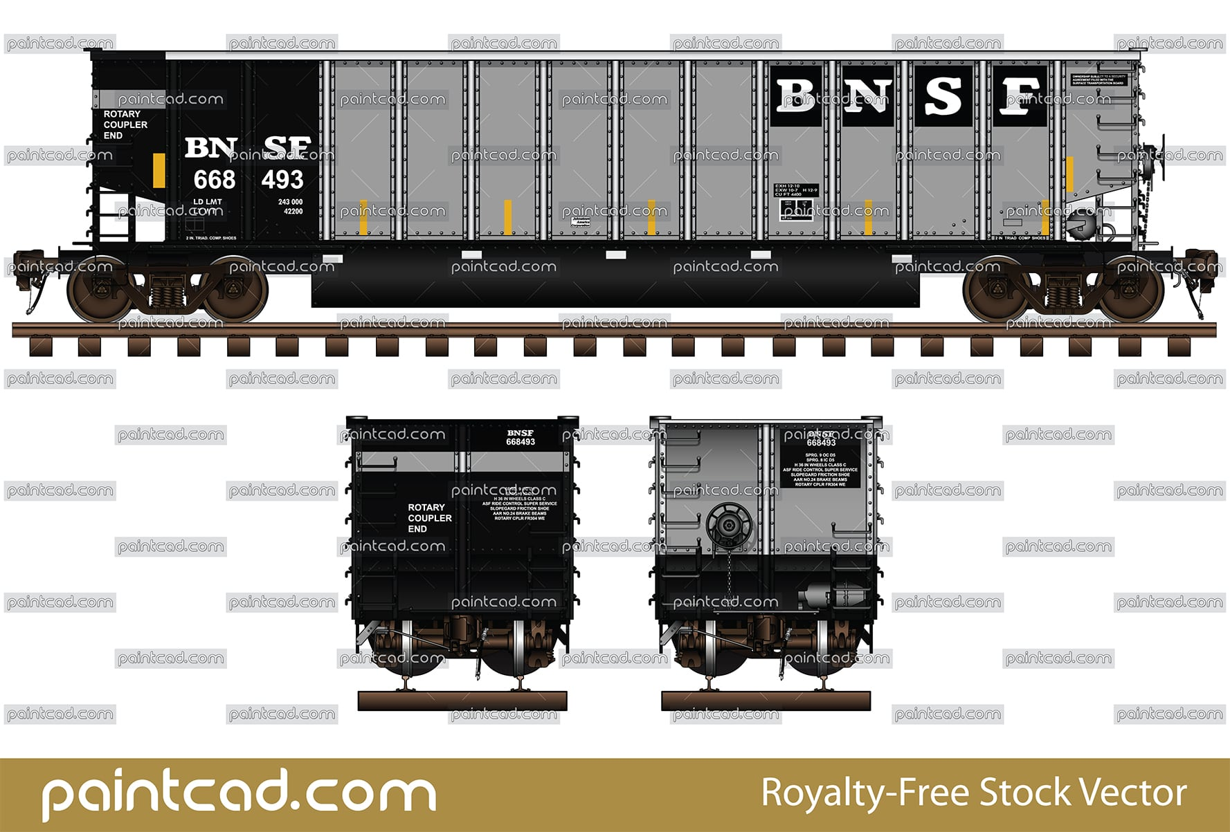 Aluminum bethgon coalporter in livery of BNSF Railway - vector illustration