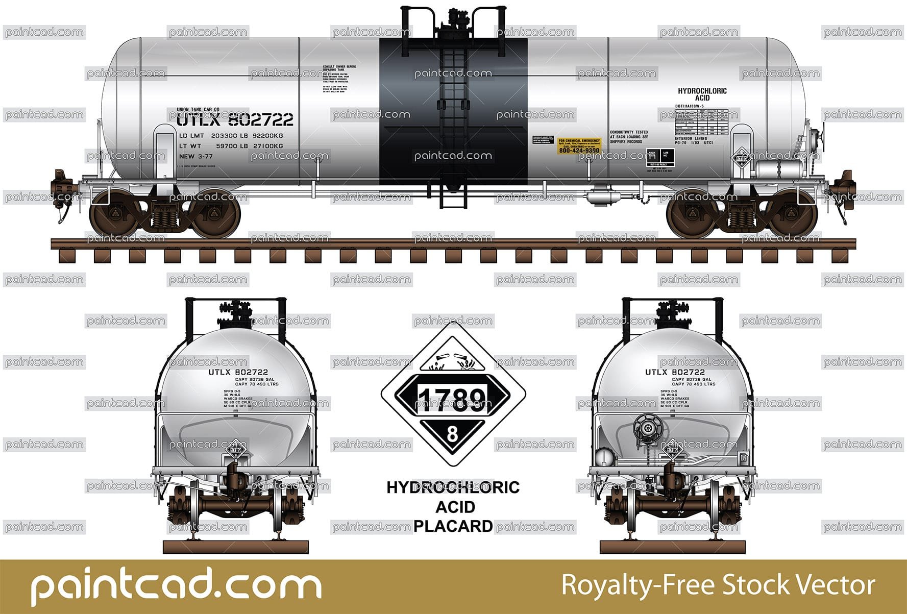 DOT-111 in white-black ownership of Union Tank Car Company - vector illustration