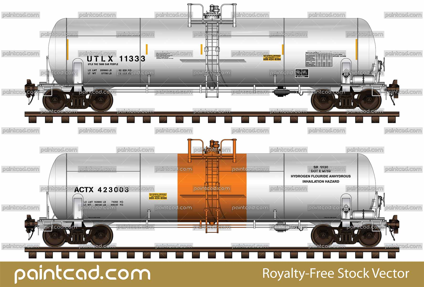 ACTX and UTLX railroad tank cars with volume 20 900 gal - vector illustration