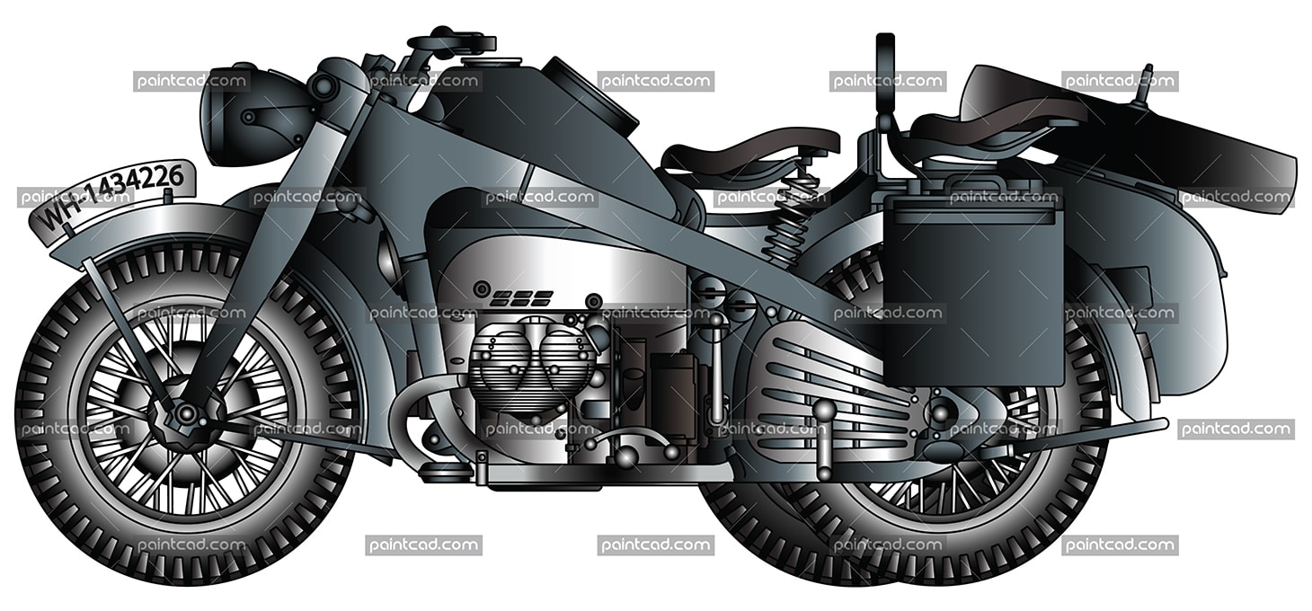 German motorcycle from World War II used by the Wehrmacht - vector illustration