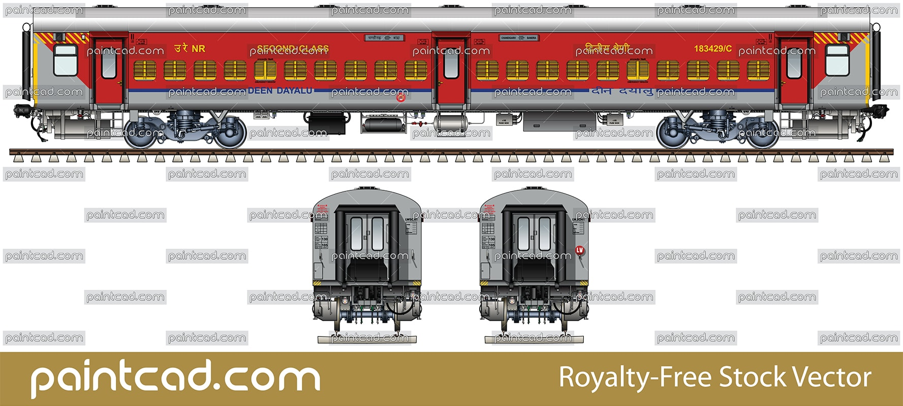 Indian LHB Deen Dayalu coach used by train Chandigarh-Bandra - vector illustration