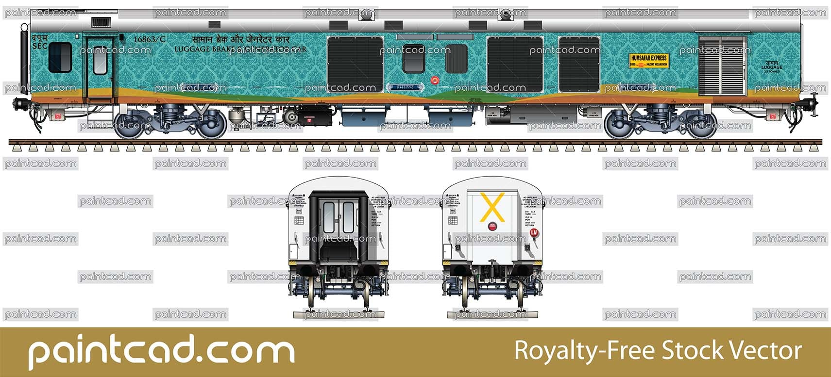 LHB power car with luggage section 3.9 t by Humsafar express - vector illustration