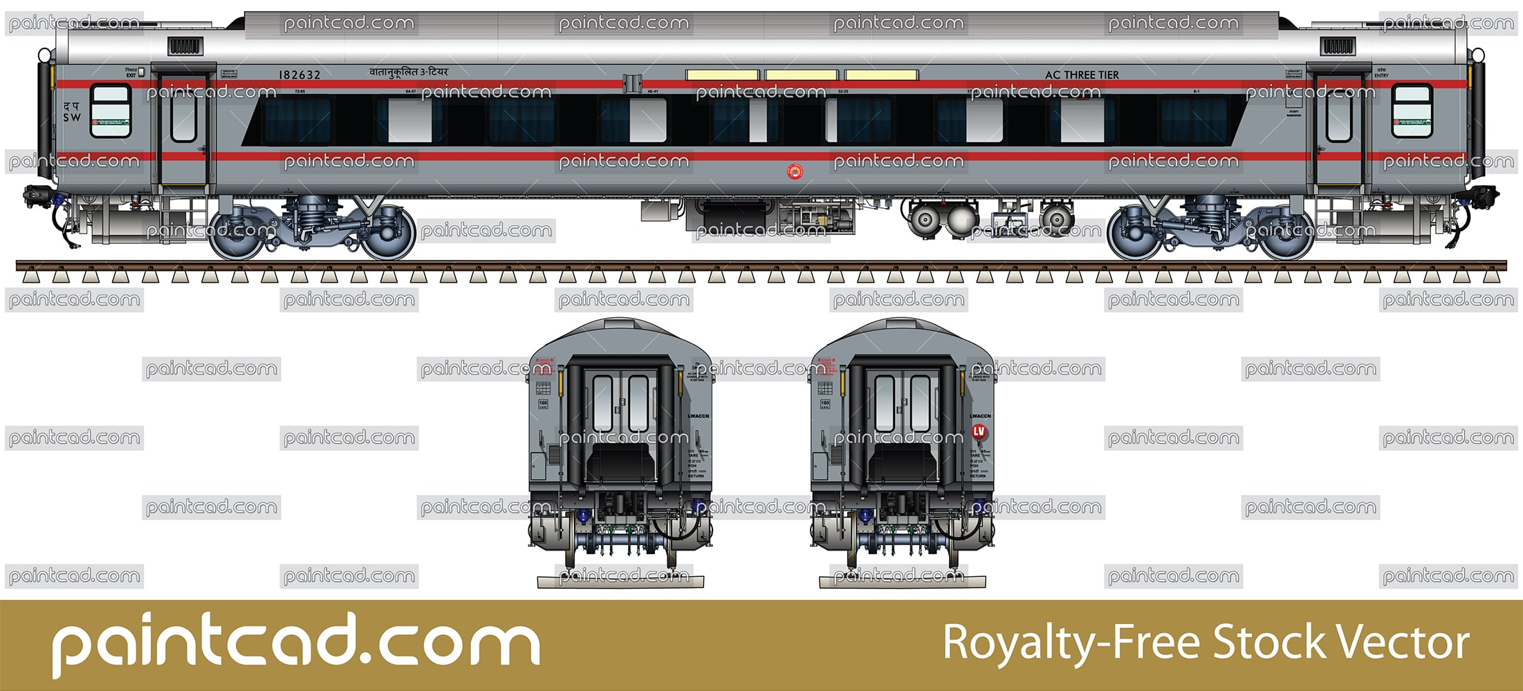 AC LHB coach with bezel less window and two red bands - vector illustration
