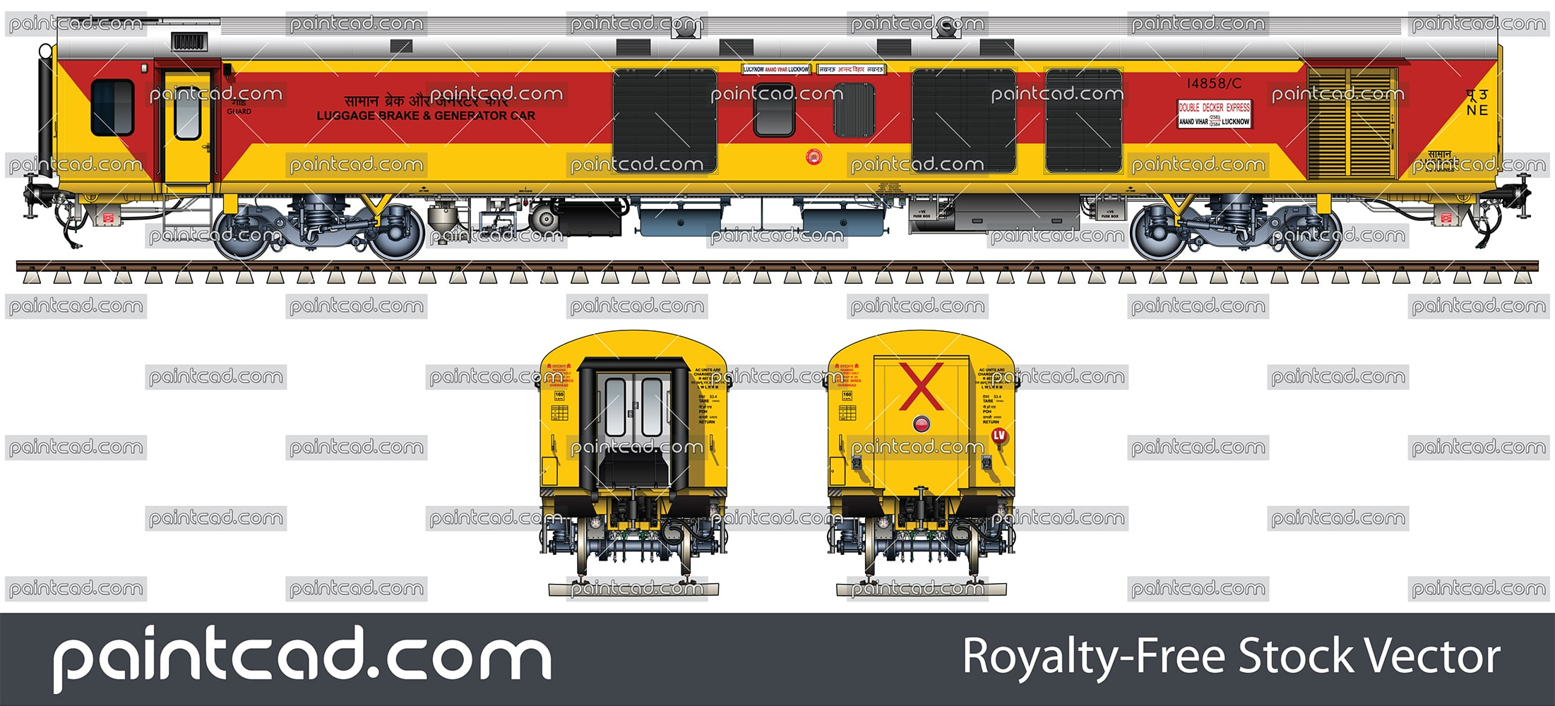 Power car of double decker train from Anand Vihar to Lucknow - vector illustration