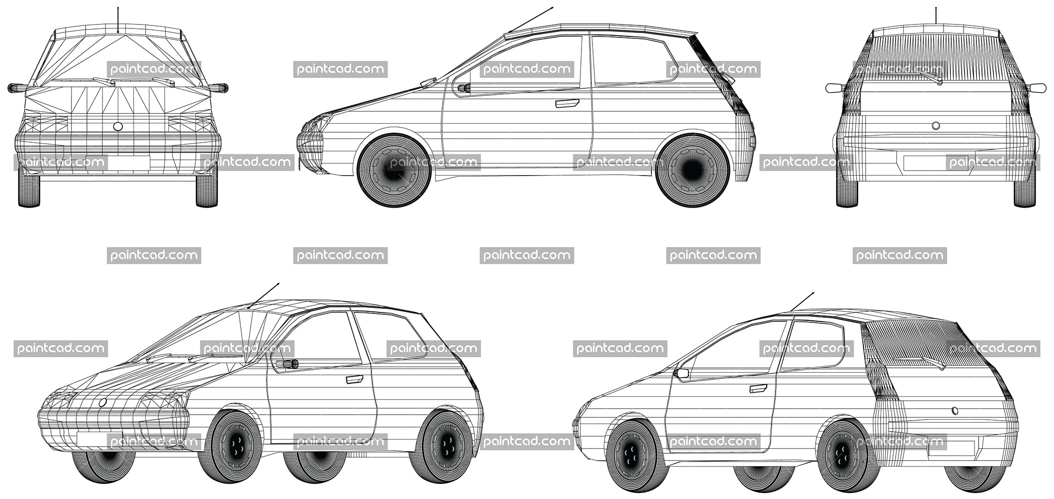 Vector wireframe design of modern small Italian car Fiat - vector illustration