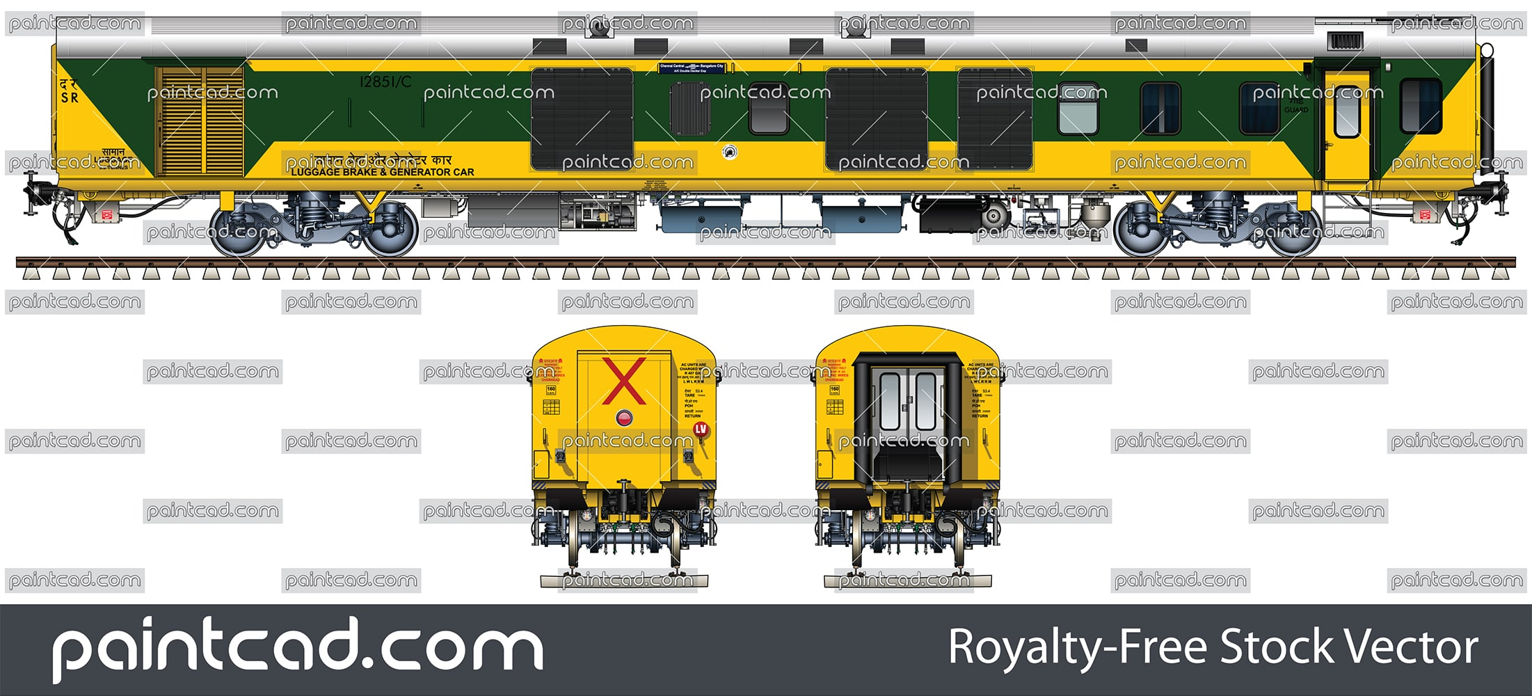 LHB Luggage, Brake and Generator car in green-yellow livery - vector illustration