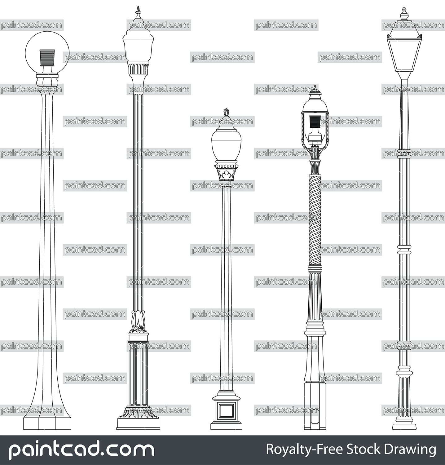Drawing with garden iron lamps and different pillar types - vector illustration
