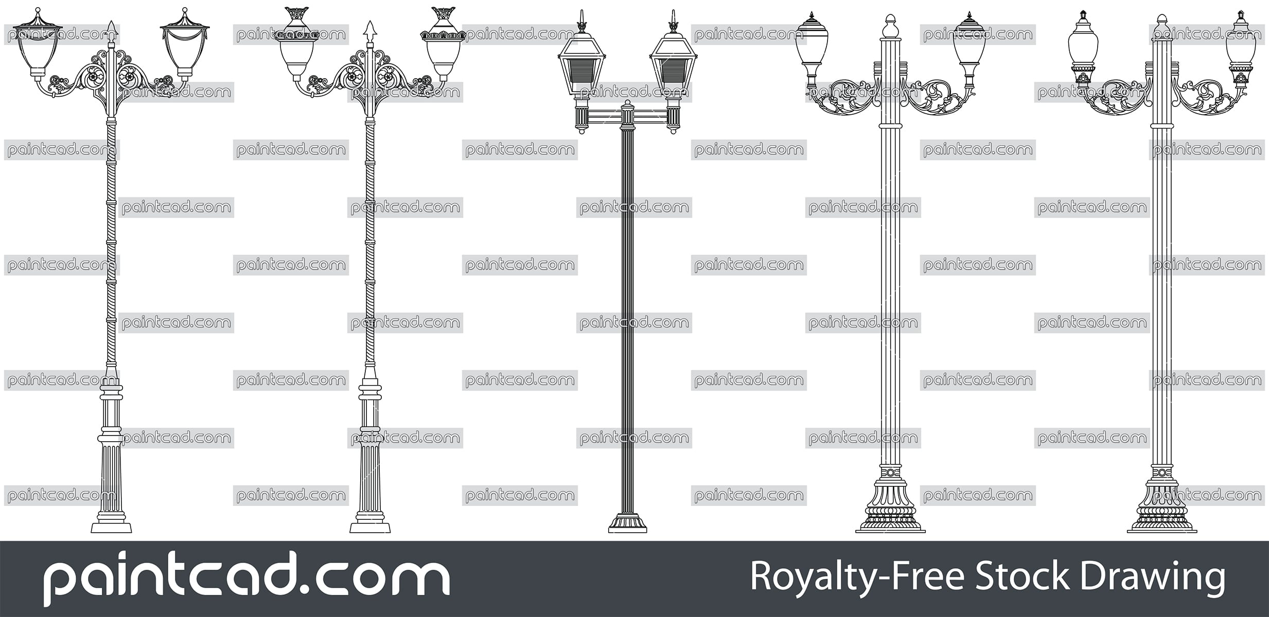 Collection with park lantern poles - two symmetrical lamps - vector illustration