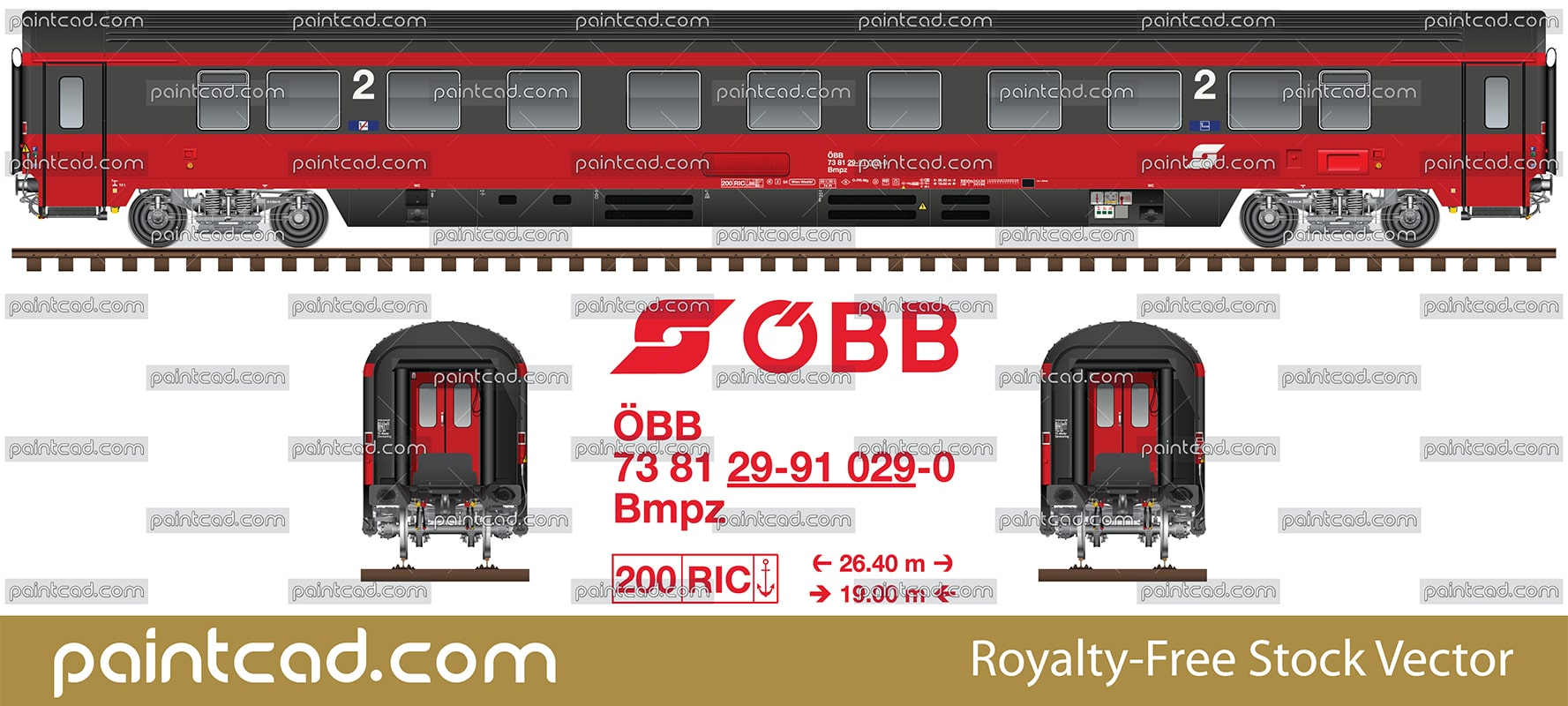 "Eurofima chair car 2nd class of the ex-EuroCity train ""Mozart"" - vector illustration"