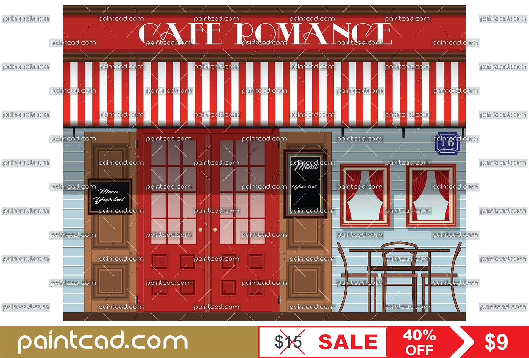Exterior facade of cafe in retro style with name ROMANCE - vector illustration