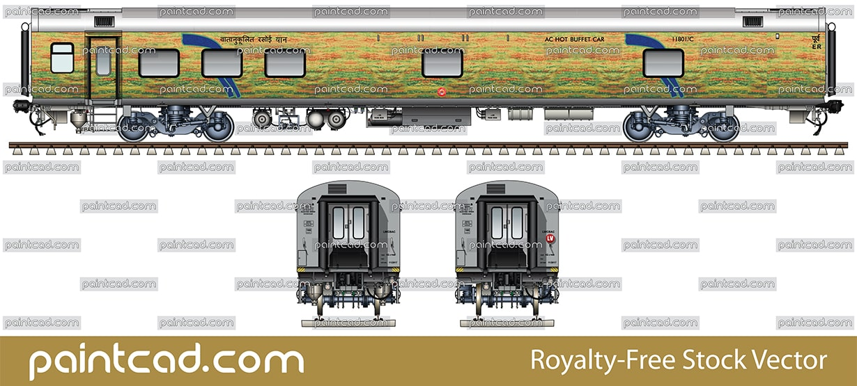 AC hot buffet car in yellow-green livery of Duronto Express - vector illustration