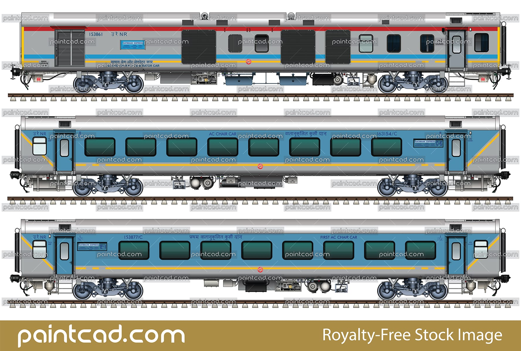LHB rake of the Indian train 12049/12050 Gatimaan Express - vector illustration