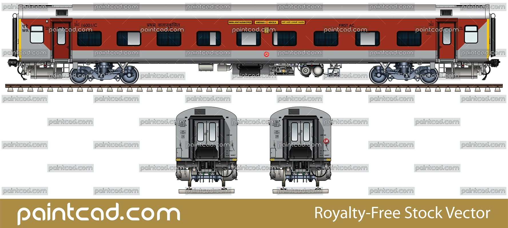 FIRST AC LHB sleeper in red-gray livery of Rajdhani express - vector illustration