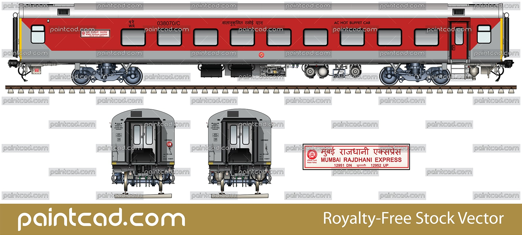 LHB AC hot buffet car by 12951/ 12952 Mumbai Rajdhani Express - vector illustration