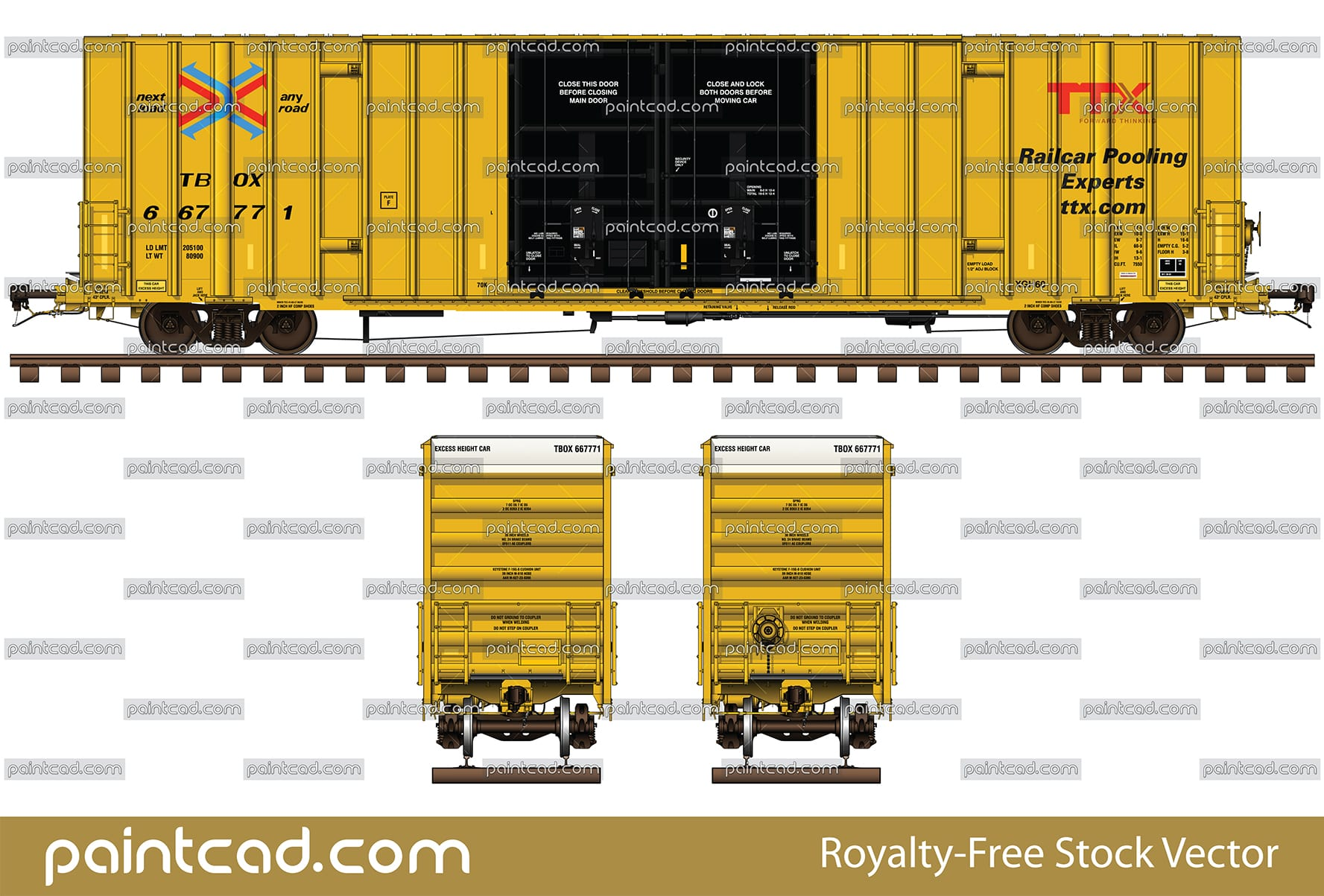 Gunderson boxcar 60-foot in yellow livery of TTX Company - vector illustration