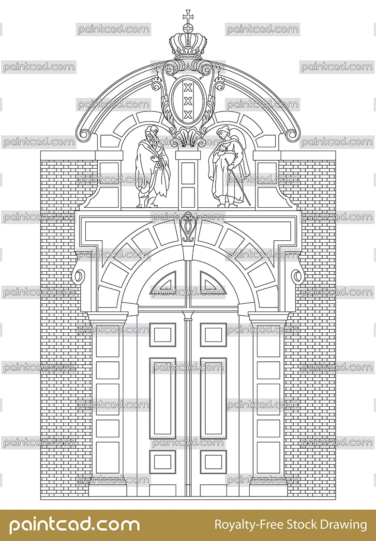 Amsterdam gate Leprozenpoort before of the House of lepers - vector illustration