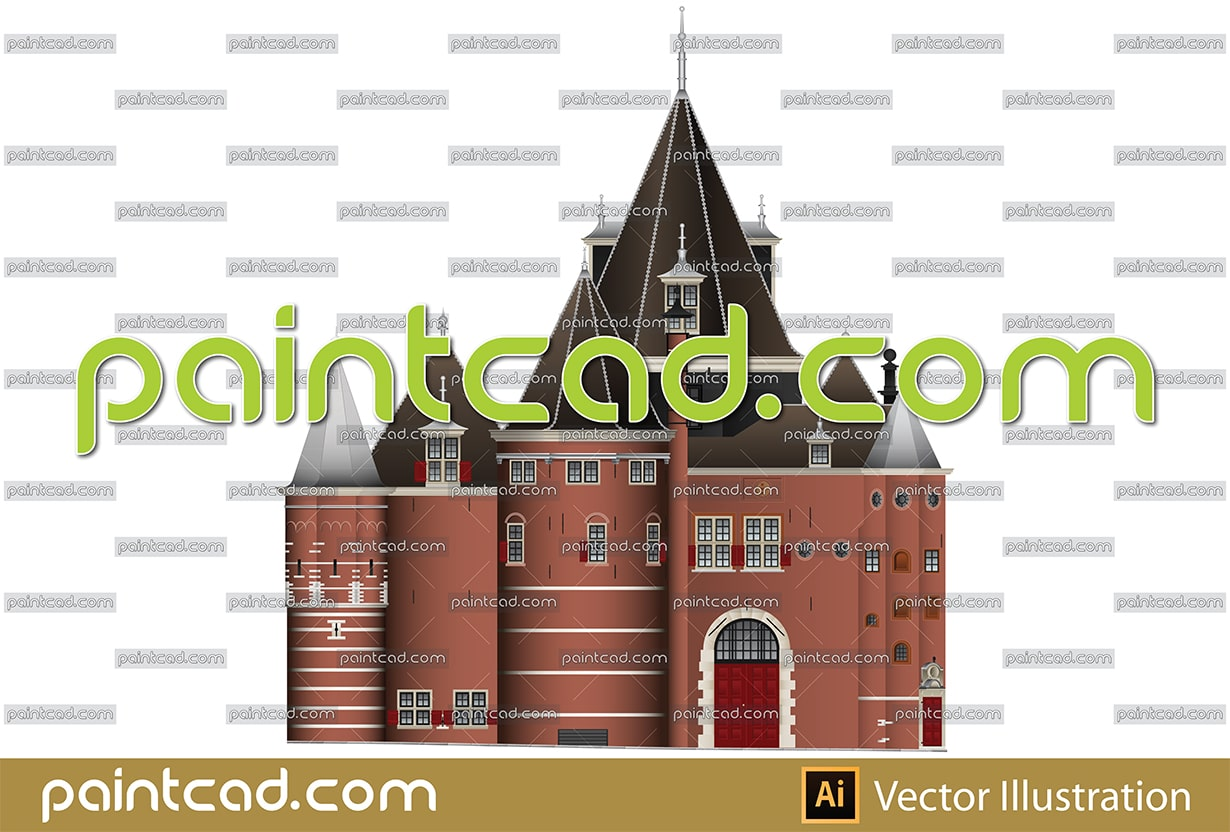 The Waag building on Nieuwmarkt square in Amsterdam city - vector illustration