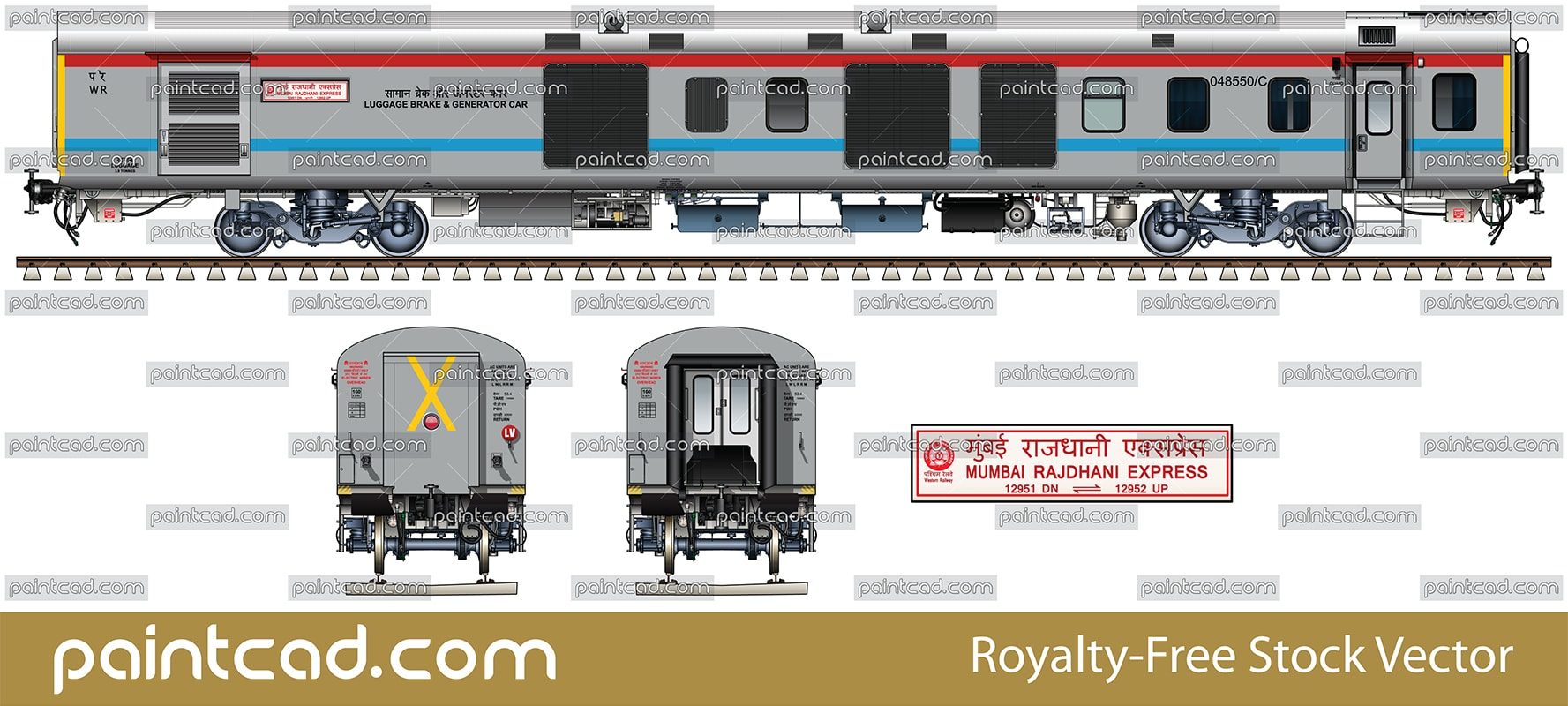Luggage, brake and generator car by Mumbai Rajdhani Express - vector illustration
