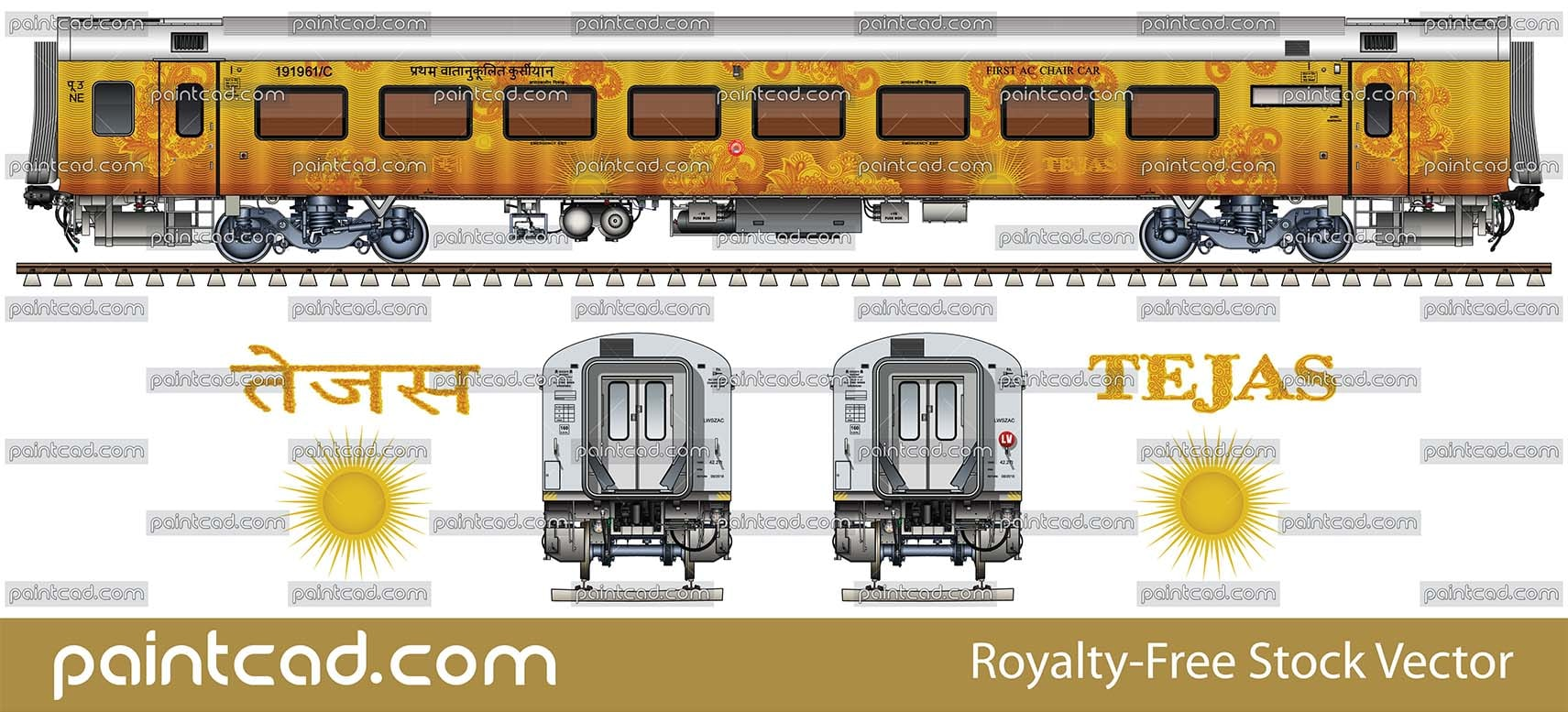 FIRST AC CHAIR CAR by Lucknow - New Delhi Tejas Express - vector illustration