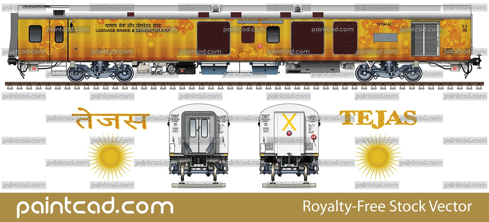 LHB luggage, brake and generator car in livery of Tejas Express - vector illustration