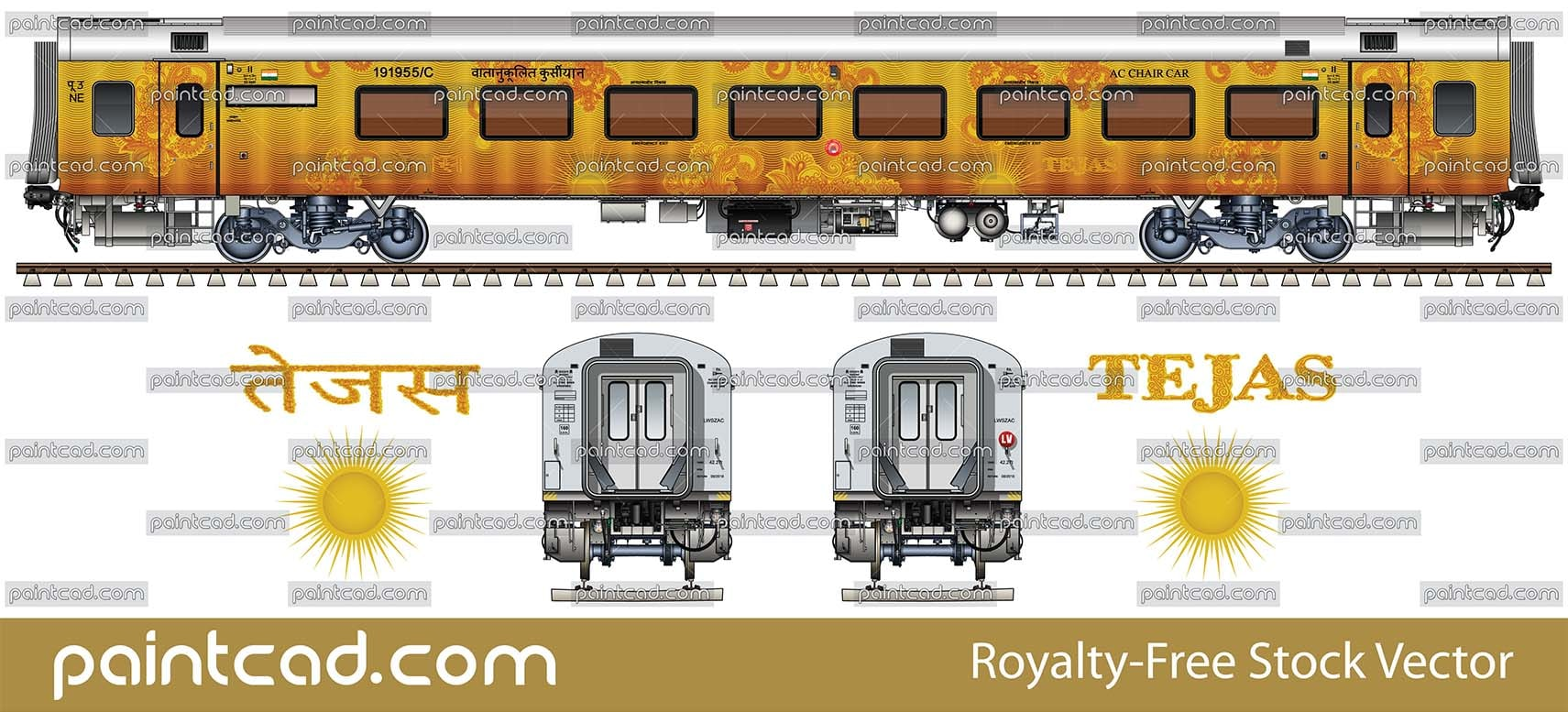 Luxury AC CHAIR CAR with 78 seats in livery of Tejas Express - vector illustration