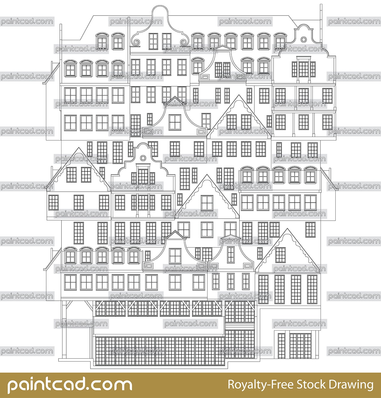Drawing with a facade of Inntel hotels in Zaandam,  Amsterdam - vector illustration