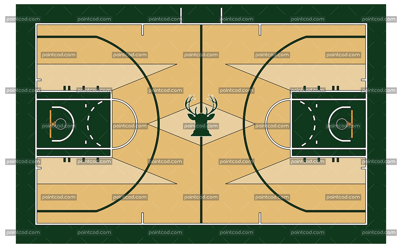 Vector illustration of a Basketball court with buck emblem - vector illustration