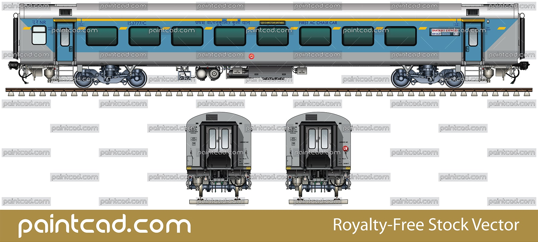 First AC chair car by New Delhi - Amritsar Shatabdi Express - vector illustration