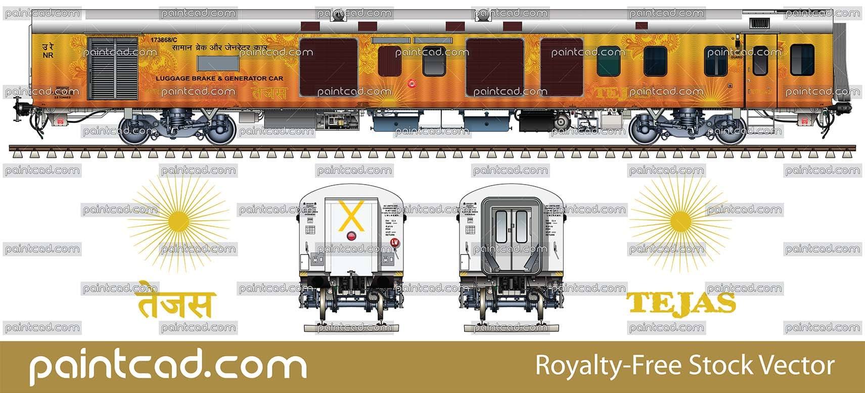 LHB power car of train New Delhi - Chandigarh Tejas Express - vector illustration