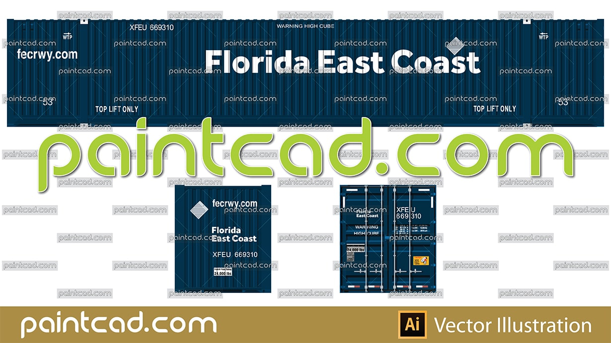 Florida East Coast Railway shipping container 53 foot long - vector illustration