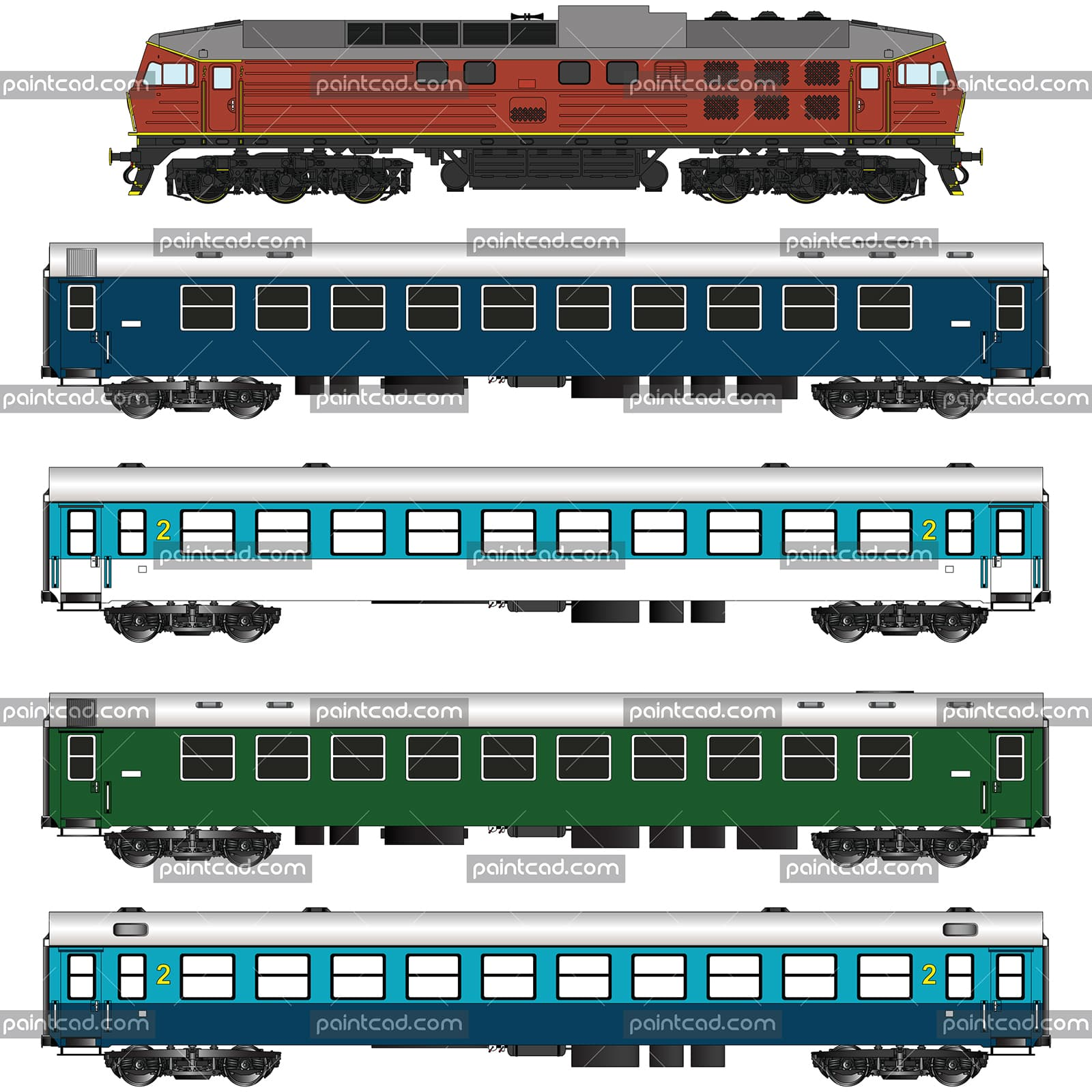 Train set with locomotive, ordinary and sleeping wagons - vector illustration