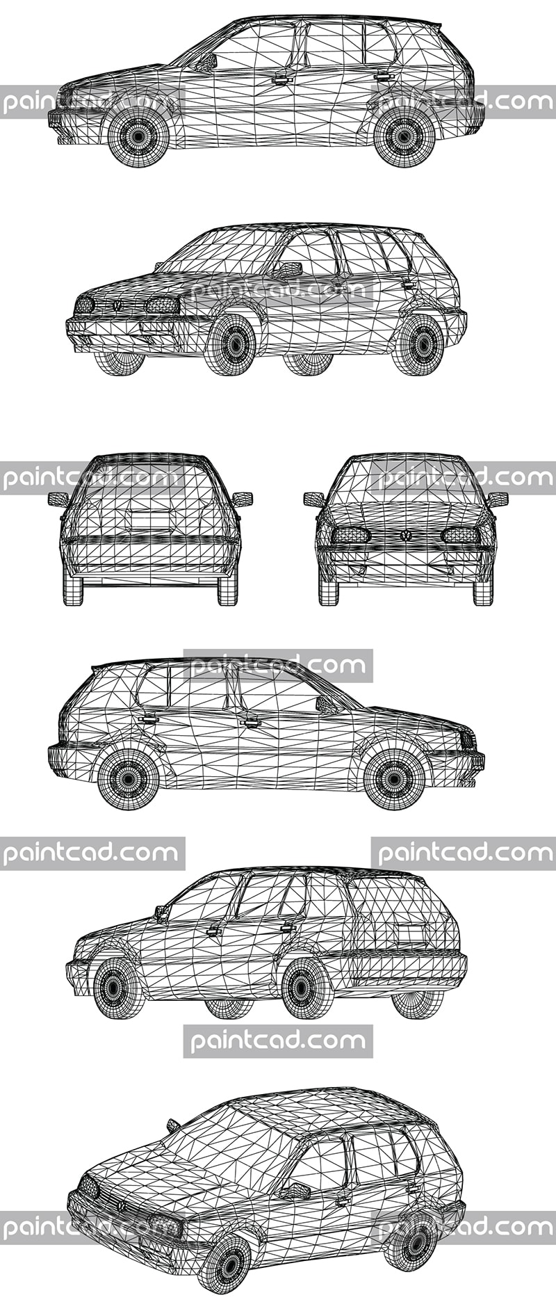 Wire design of a small family car Volkswagen made in Germany - vector illustration