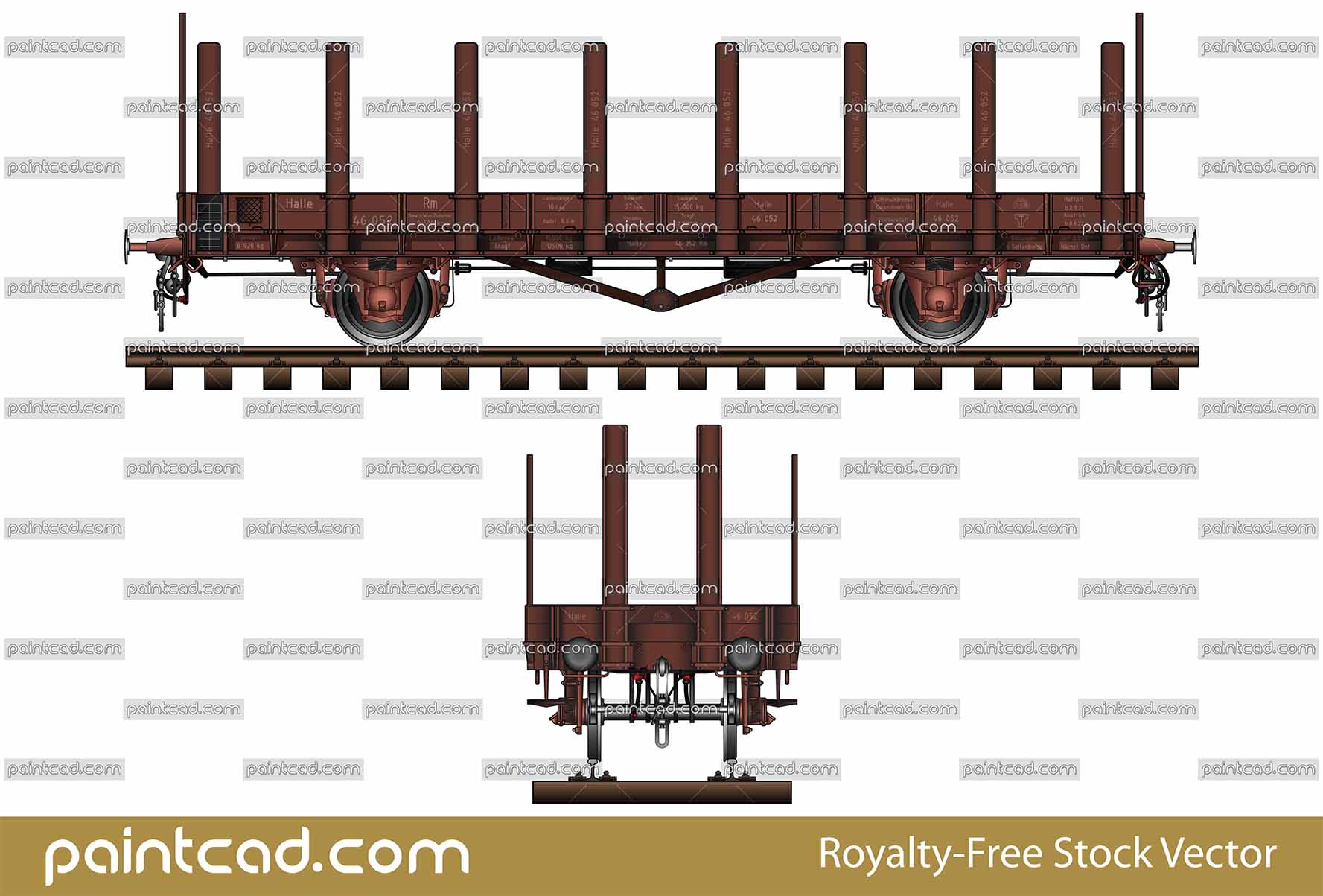 German stanchion wagon type Rm - Rungenwagen  R Stuttgart - vector illustration