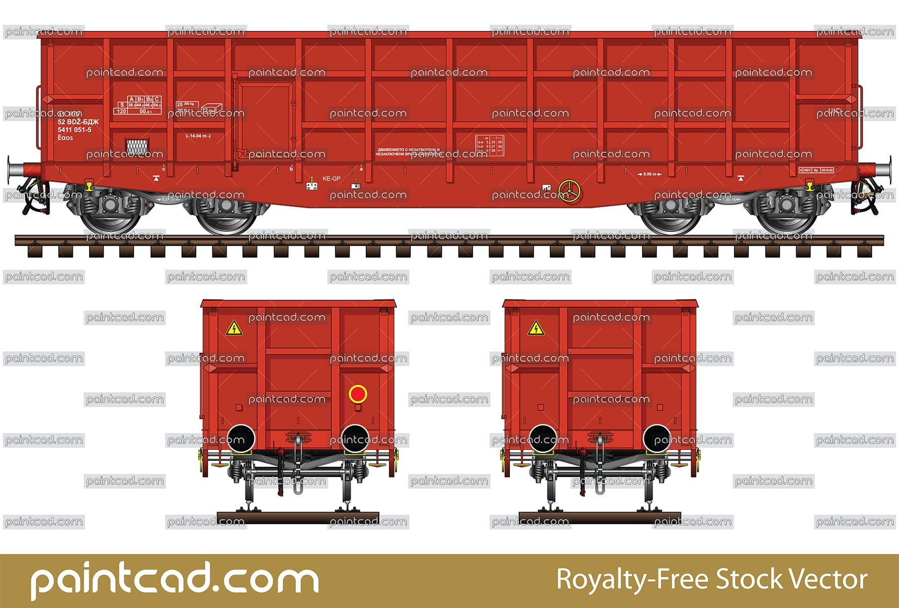 High-sided open wagon for transportation of bulk cargo - vector illustration