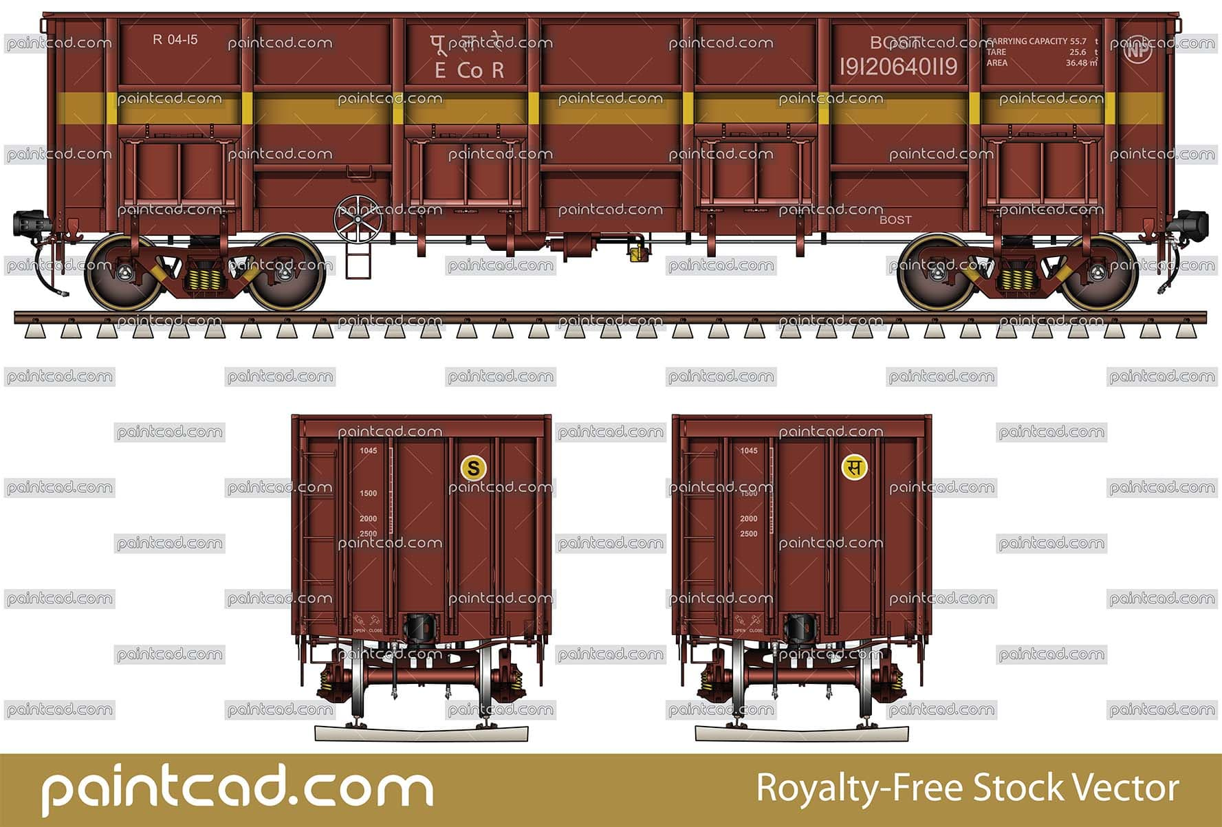 Open-top cargo wagon with four doors used by Indian Railways - vector illustration