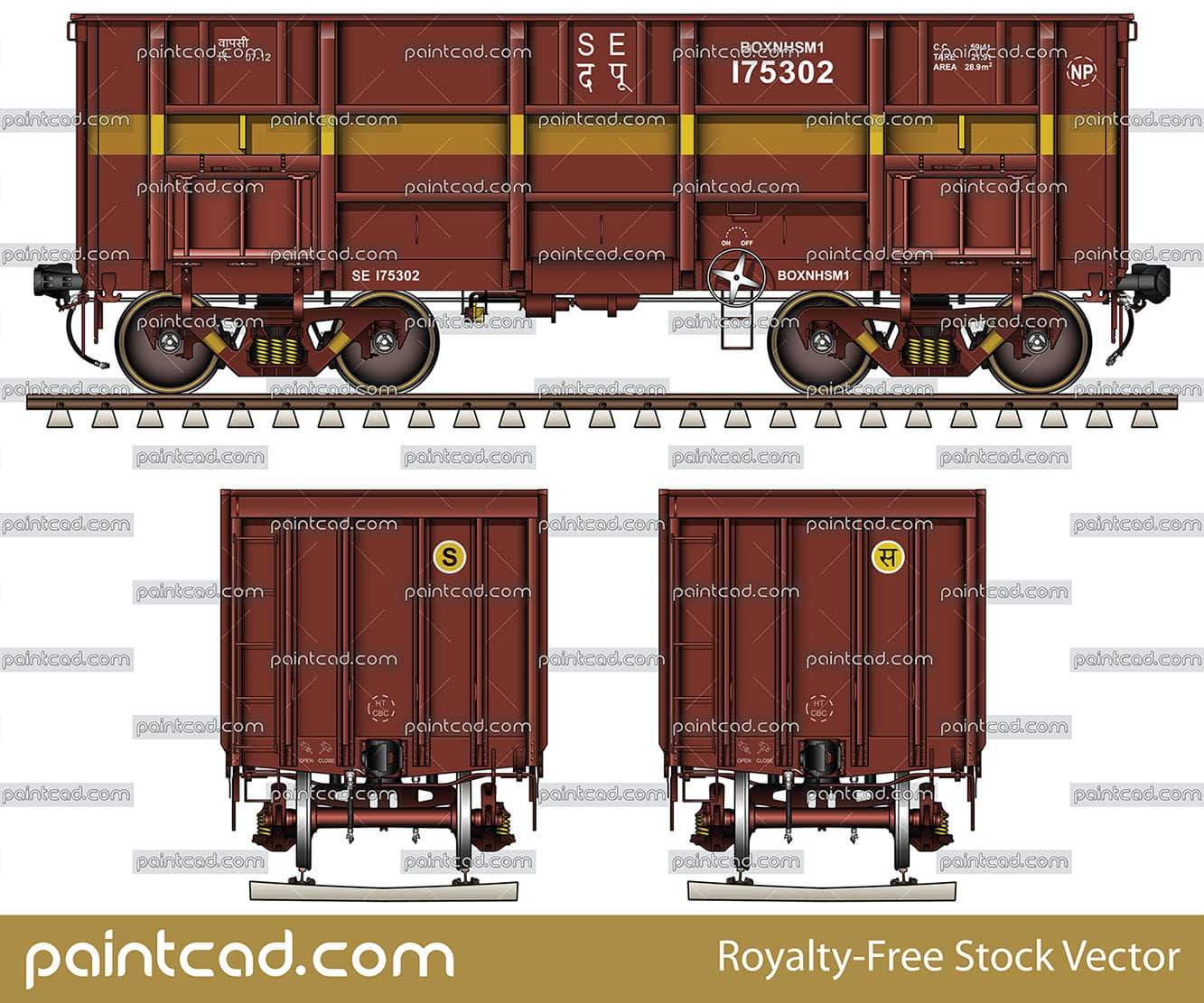Indian open-top freight wagon BOXNHSM1 with high axle load - vector illustration