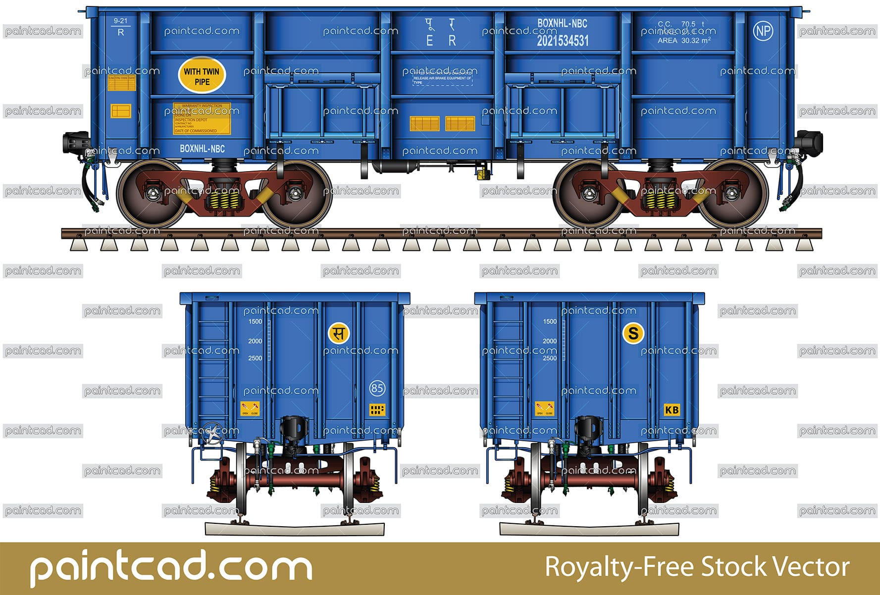 Ore open top car BOXNHL-NBC type used by Indian Railways - vector illustration