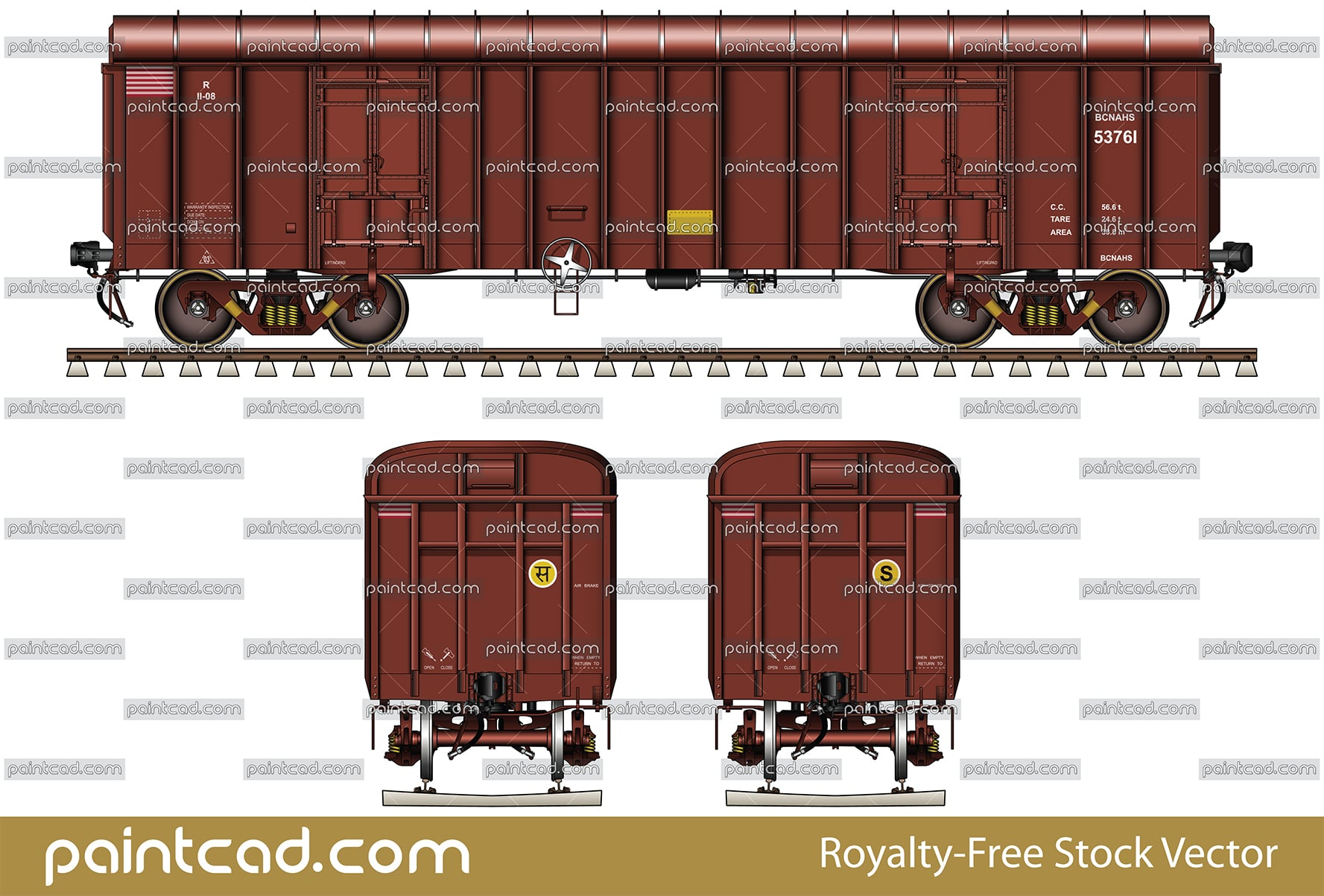 Indian boxcar BCNAHS for transport of packaged goods - vector illustration