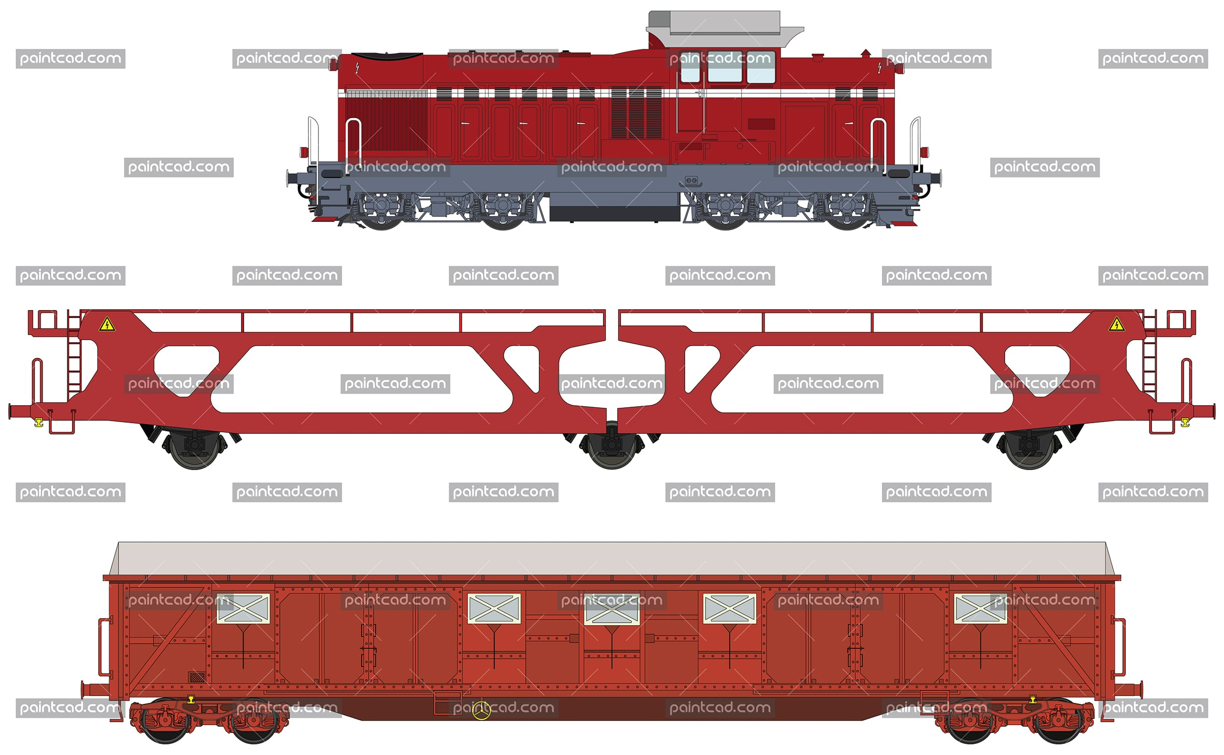 Manoeuvrable diesel-electric locomotive and two cargo wagons - vector illustration
