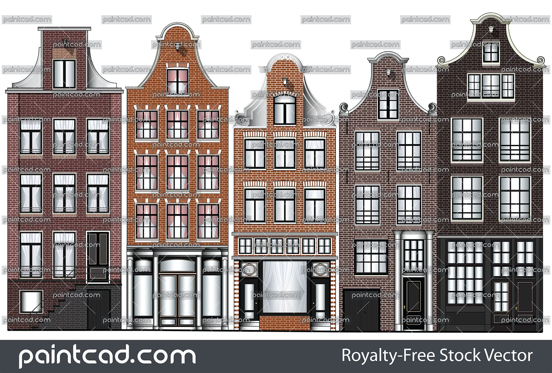 Old Renaissance canal houses from Amsterdam city - vector illustration