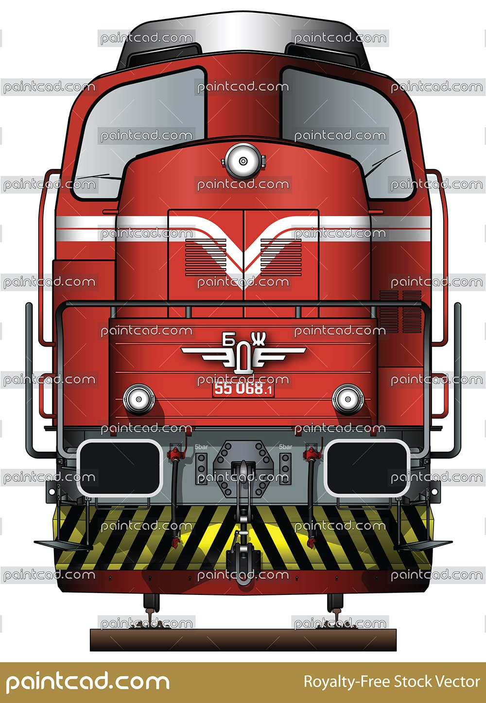 Front view of locomotive LDH 125 – Serie 55 in livery of BDZ - vector illustration