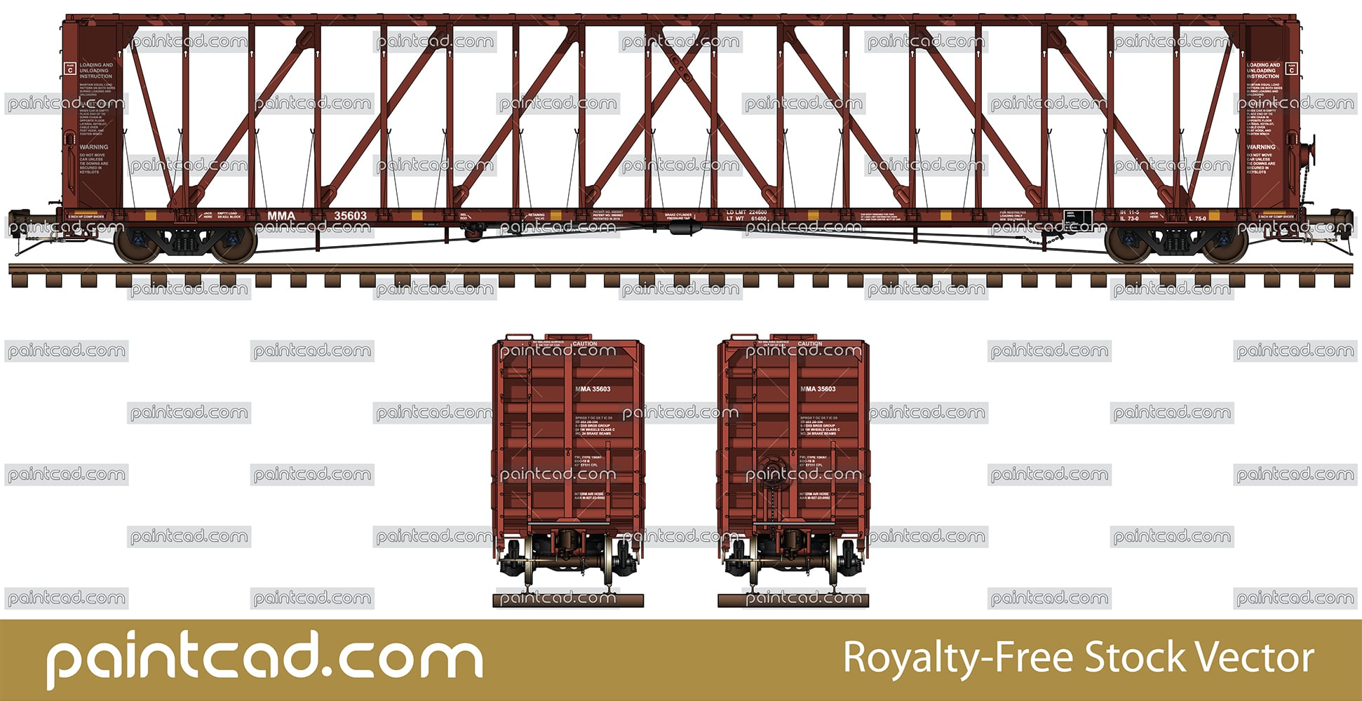 Centerbeam flatcar for transport of lumber and wallboards - vector illustration