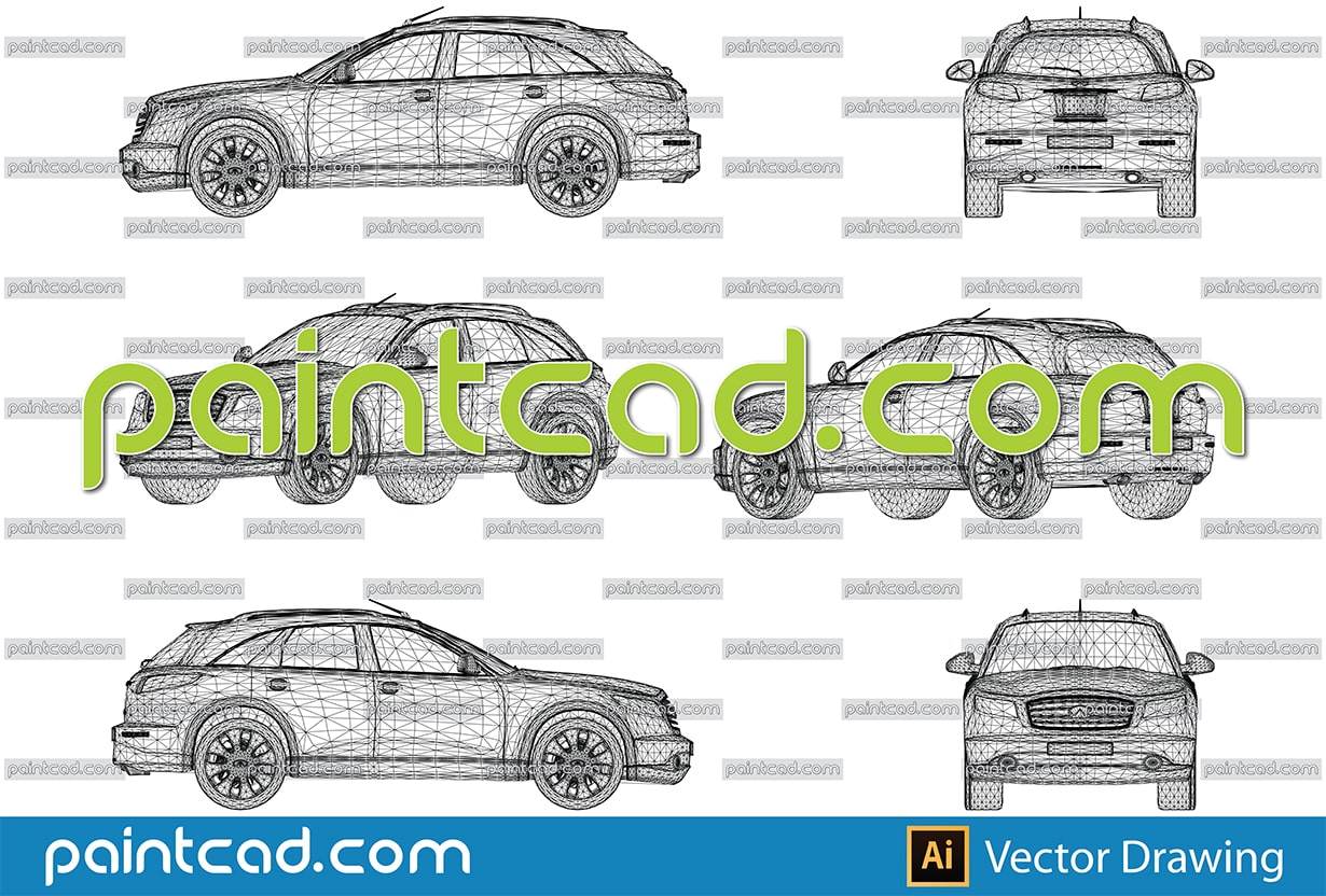 Wireframe model of luxury Japanese crossover Infiniti jeep - vector illustration