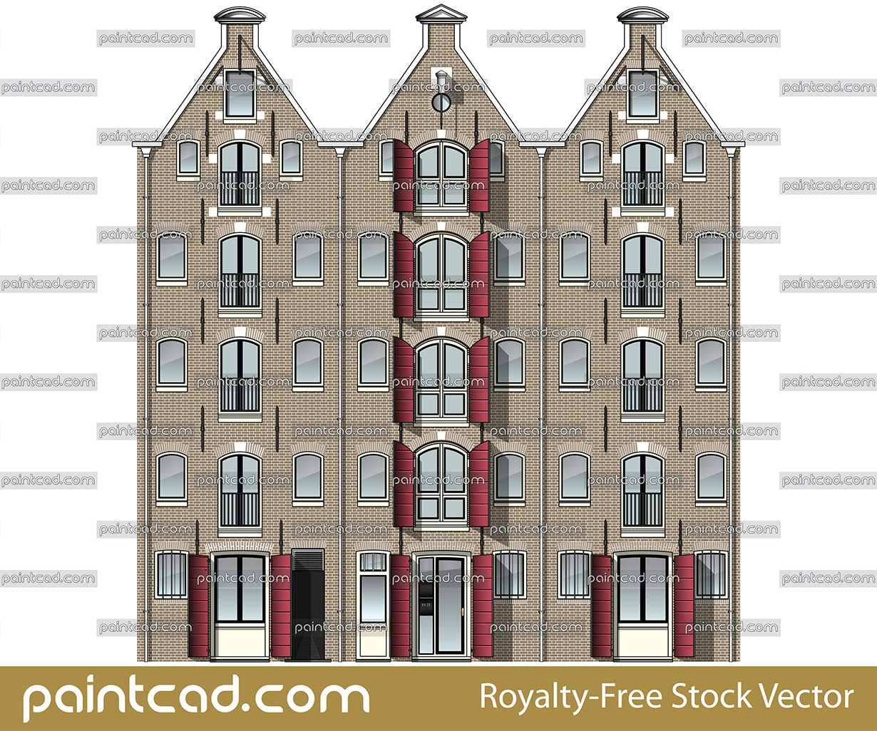 Tall canal houses from Amsterdam with red window shutters - vector illustration
