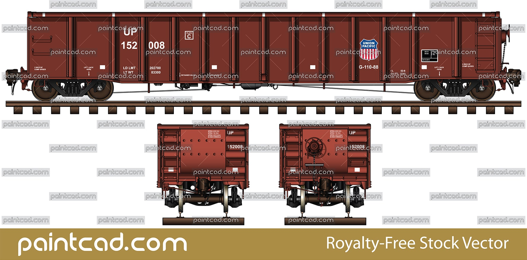 Railroad gondola long 52' 6'' ft and livery of Union Pacific - vector illustration