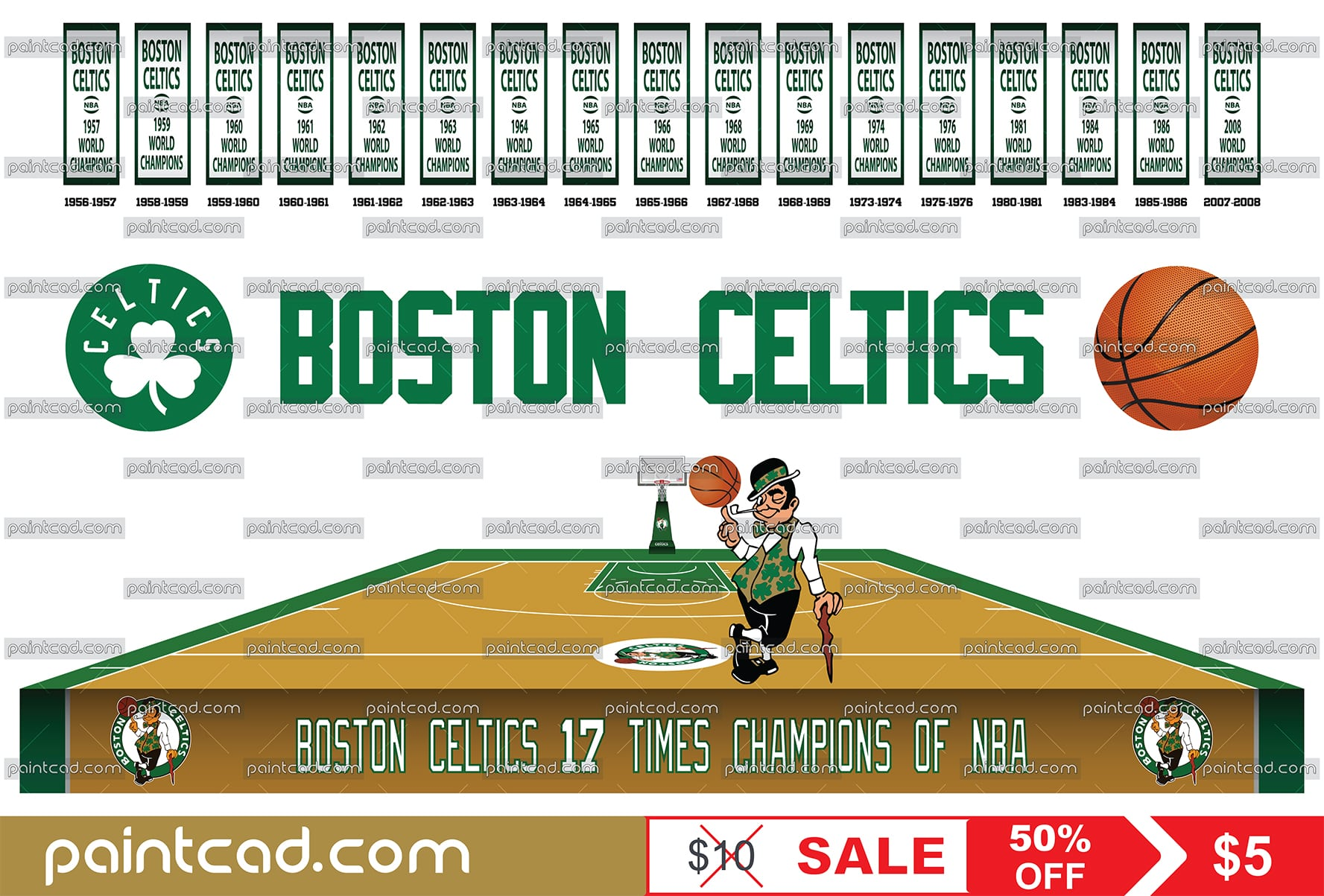 Boston Celtics championship banners, team logo and home court - vector illustration