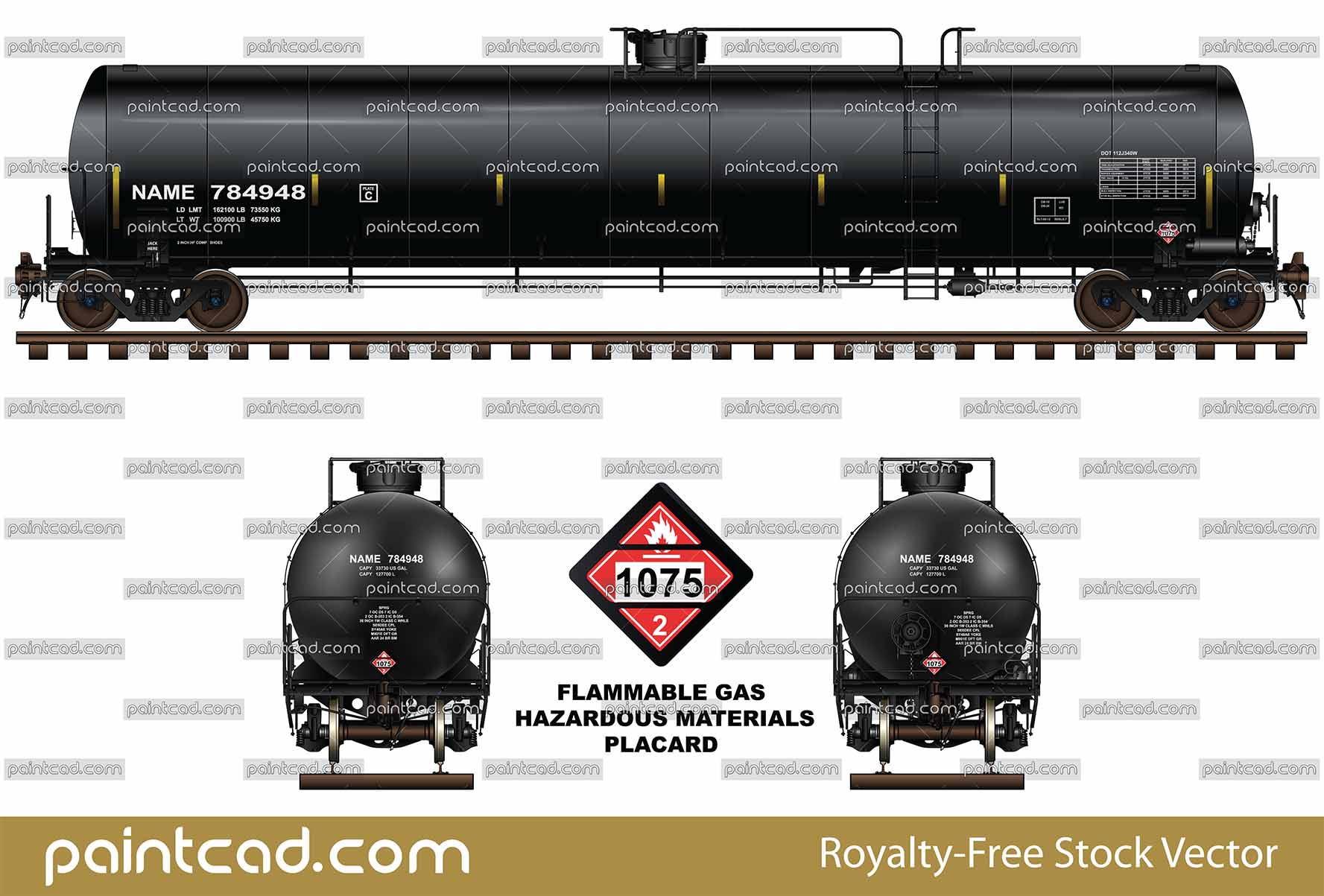 Tank car DOT-112 for transport of liquefied petroleum gas - vector illustration
